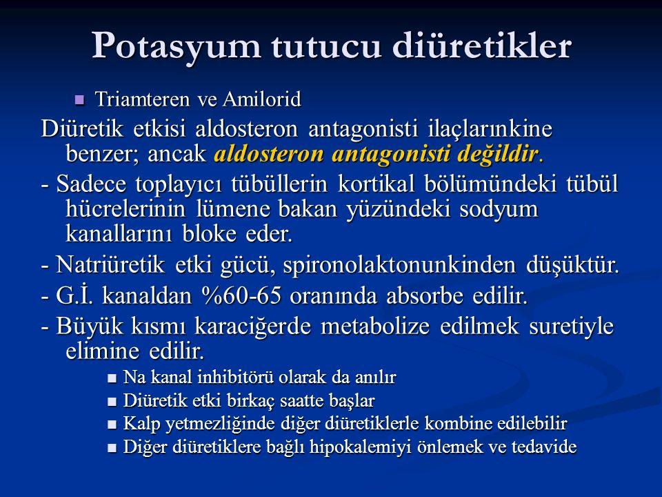 Potasyum tutucu diüretikler Triamteren ve Amilorid Triamteren ve Amilorid Diüretik etkisi aldosteron antagonisti ilaçlarınkine benzer; ancak aldostero