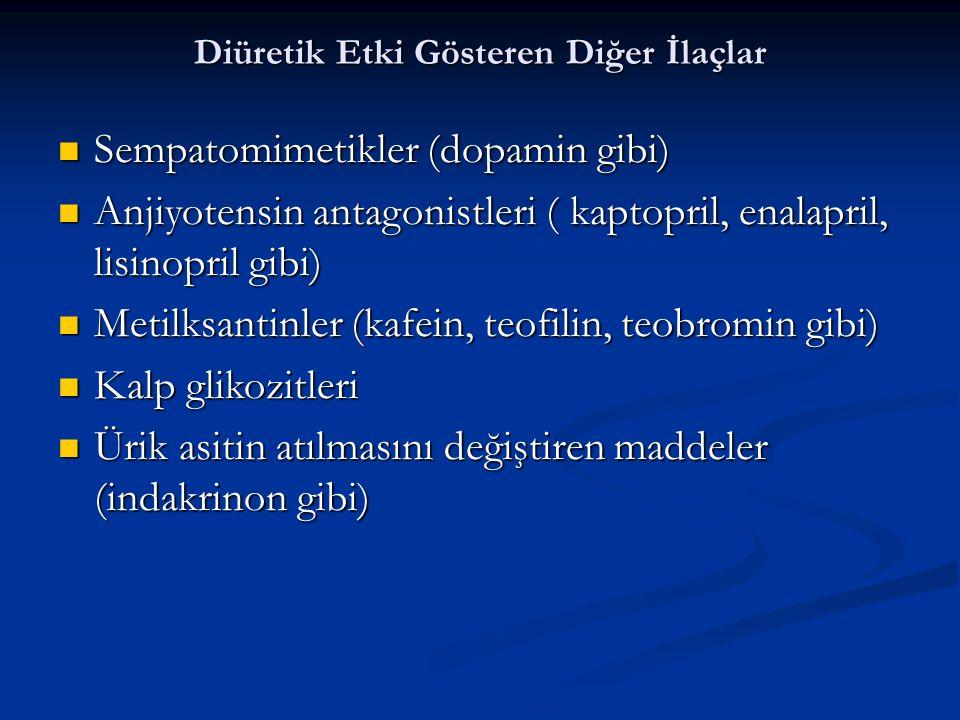 Diüretik Etki Gösteren Diğer İlaçlar Sempatomimetikler (dopamin gibi) Sempatomimetikler (dopamin gibi) Anjiyotensin antagonistleri ( kaptopril, enalap