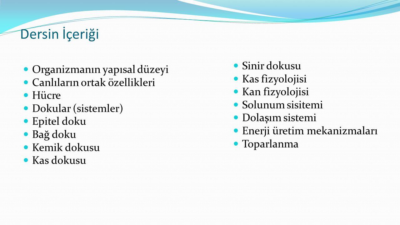 Dersin İçeriği Organizmanın yapısal düzeyi Canlıların ortak özellikleri Hücre Dokular (sistemler) Epitel doku Bağ doku Kemik dokusu Kas dokusu Sinir d
