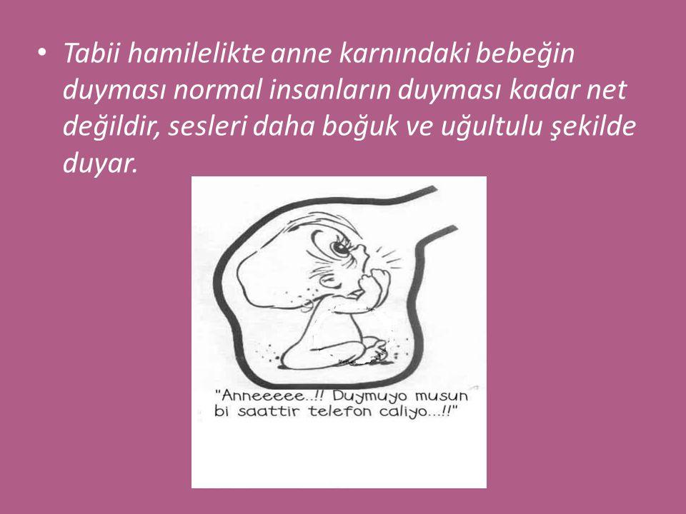 Bebek anne karnında dışarıdan gelen sesleri ve gürültüleri duyar, annenin kalp atış sesini, büyük damarlardan geçen kan sesini duyar, etraftaki insanların seslerini duyar, ancak anne karnındaki bebeğin en net duyduğu ses annesinin sesidir.