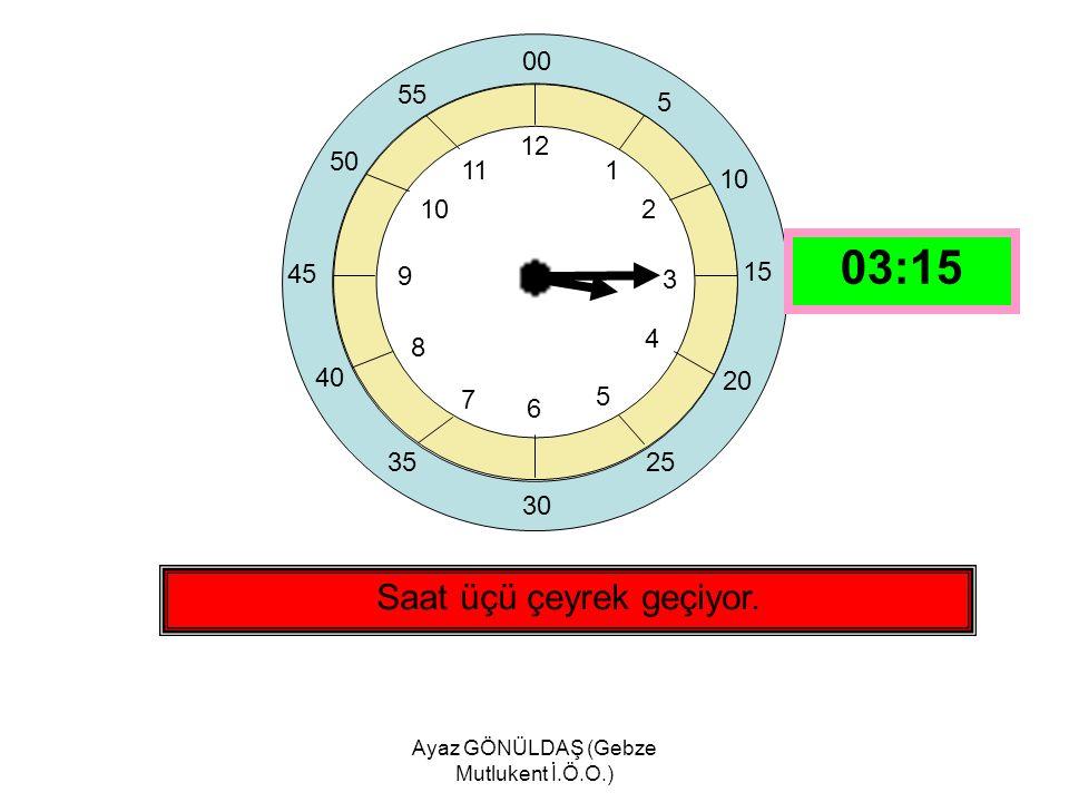 Ayaz GÖNÜLDAŞ (Gebze Mutlukent İ.Ö.O.) 12 1 2 3 4 5 6 7 8 9 10 11 Saat on ikiyi çeyrek geçiyor.