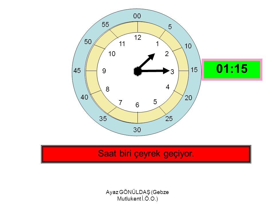 Ayaz GÖNÜLDAŞ (Gebze Mutlukent İ.Ö.O.) 12 1 2 3 4 5 6 7 8 9 10 11 Saat on ikiye çeyrek var. 11:45