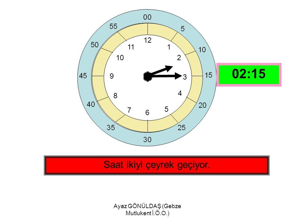 Ayaz GÖNÜLDAŞ (Gebze Mutlukent İ.Ö.O.) 12 1 2 3 4 5 6 7 8 9 10 11 Saat bire çeyrek var. 12:45