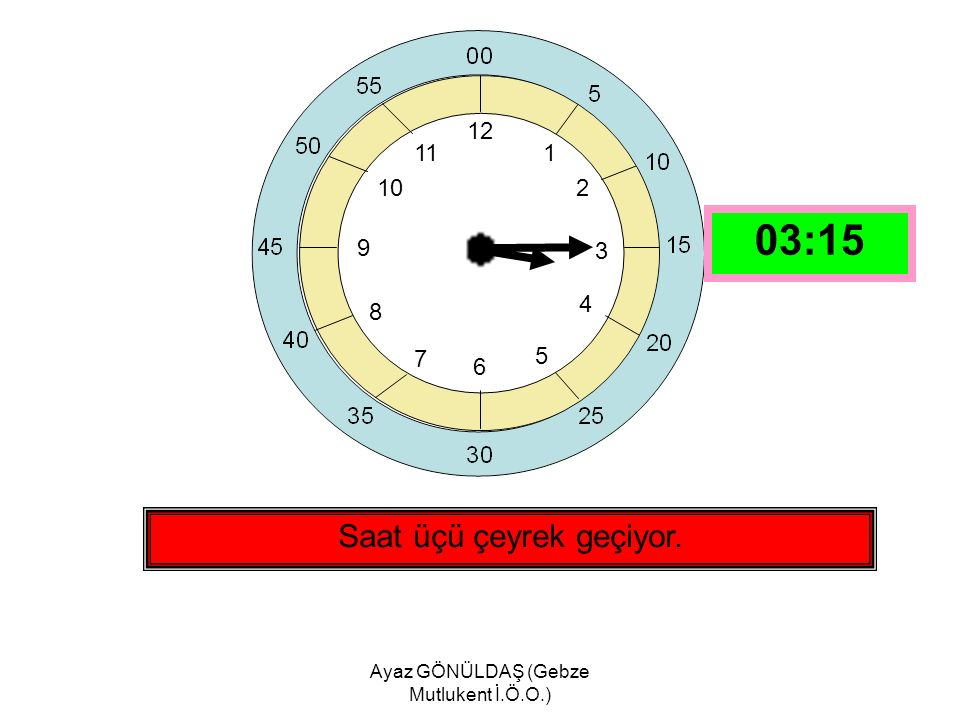 Ayaz GÖNÜLDAŞ (Gebze Mutlukent İ.Ö.O.) 12 1 2 3 4 5 6 7 8 9 10 11 Saat dördü çeyrek geçiyor. 04:15