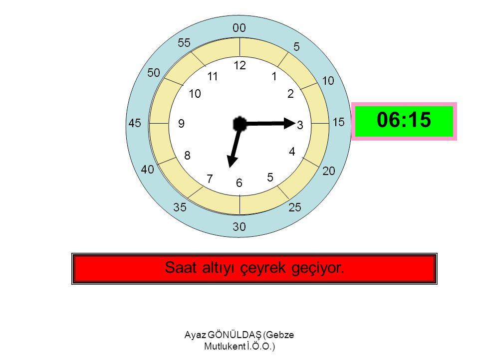 Ayaz GÖNÜLDAŞ (Gebze Mutlukent İ.Ö.O.) 12 1 2 3 4 5 6 7 8 9 10 11 Saat beşe çeyrek var. 04:45