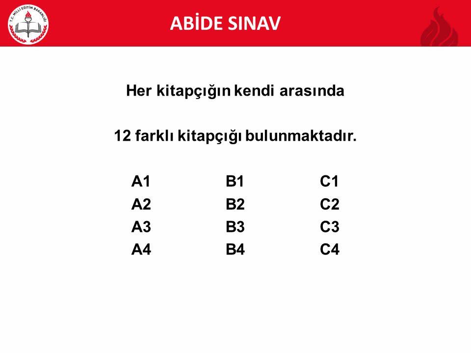 ABİDE ABİDE SINAV Her kitapçığın kendi arasında 12 farklı kitapçığı bulunmaktadır. A1B1C1 A2B2C2 A3B3C3 A4B4C4