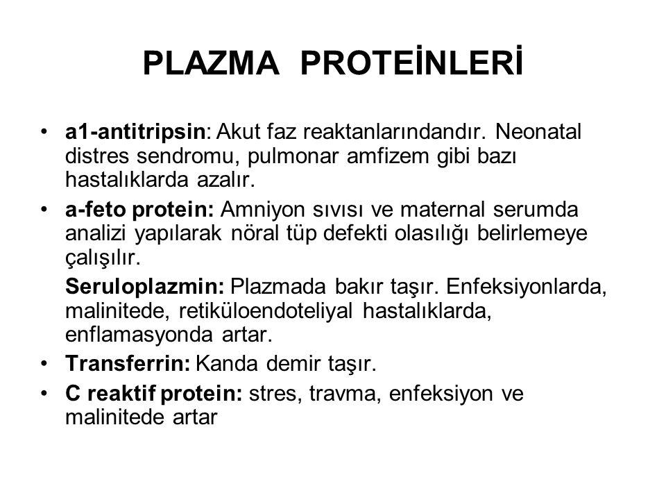 PLAZMA PROTEİNLERİ a1-antitripsin: Akut faz reaktanlarındandır. Neonatal distres sendromu, pulmonar amfizem gibi bazı hastalıklarda azalır. a-feto pro