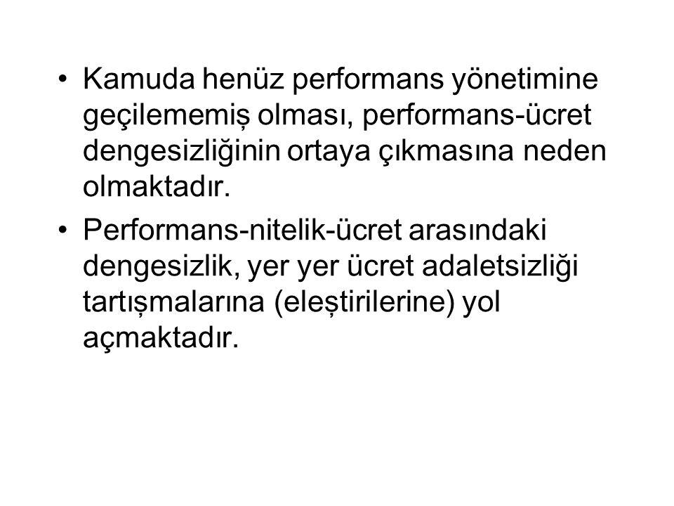 Kamuda henüz performans yönetimine geçilememiş olması, performans-ücret dengesizliğinin ortaya çıkmasına neden olmaktadır.