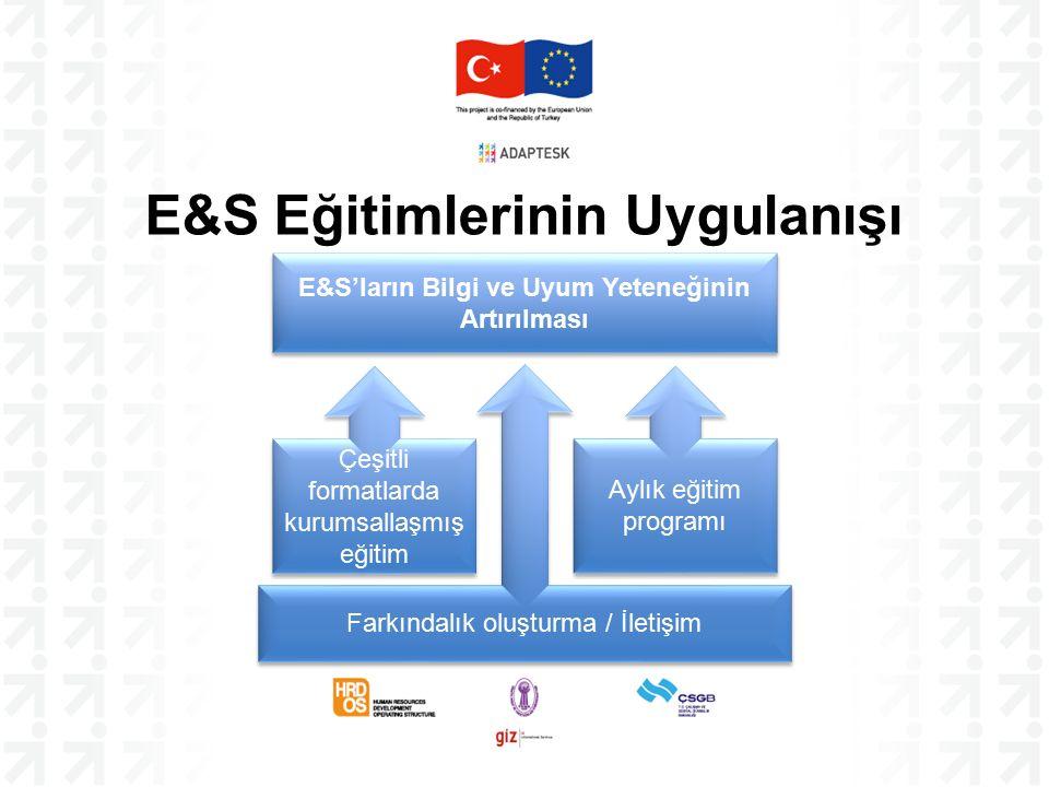 E&S Eğitimlerinin Uygulanışı Farkındalık oluşturma / İletişim E&S'ların Bilgi ve Uyum Yeteneğinin Artırılması Çeşitli formatlarda kurumsallaşmış eğitim Aylık eğitim programı