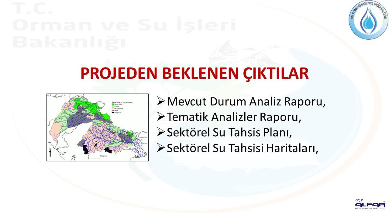 PROJEDEN BEKLENEN ÇIKTILAR  Mevcut Durum Analiz Raporu,  Tematik Analizler Raporu,  Sektörel Su Tahsis Planı,  Sektörel Su Tahsisi Haritaları,
