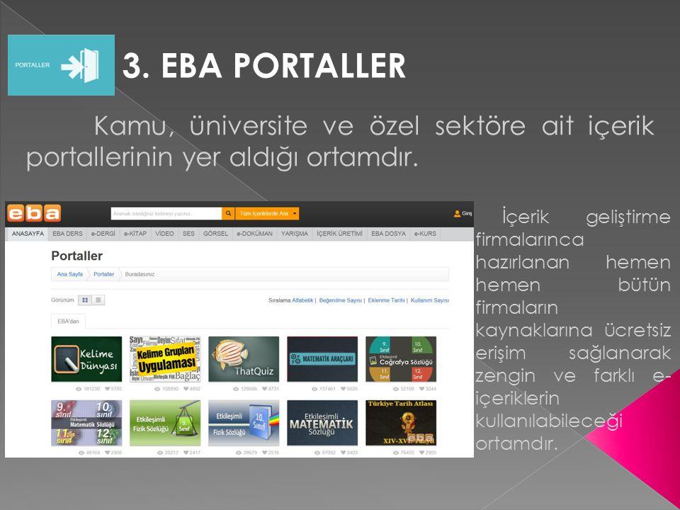 3. EBA PORTALLER Kamu, üniversite ve özel sektöre ait içerik portallerinin yer aldığı ortamdır. İçerik geliştirme firmalarınca hazırlanan hemen hemen