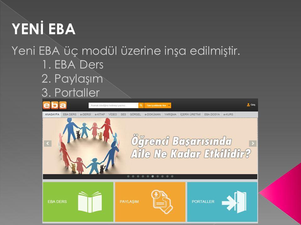 YENİ EBA Yeni EBA üç modül üzerine inşa edilmiştir. 1. EBA Ders 2. Paylaşım 3. Portaller