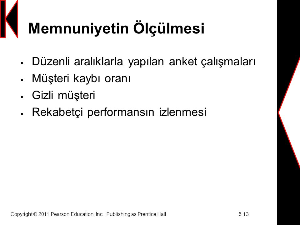 Copyright © 2011 Pearson Education, Inc. Publishing as Prentice Hall 5-13 Memnuniyetin Ölçülmesi  Düzenli aralıklarla yapılan anket çalışmaları  Müş