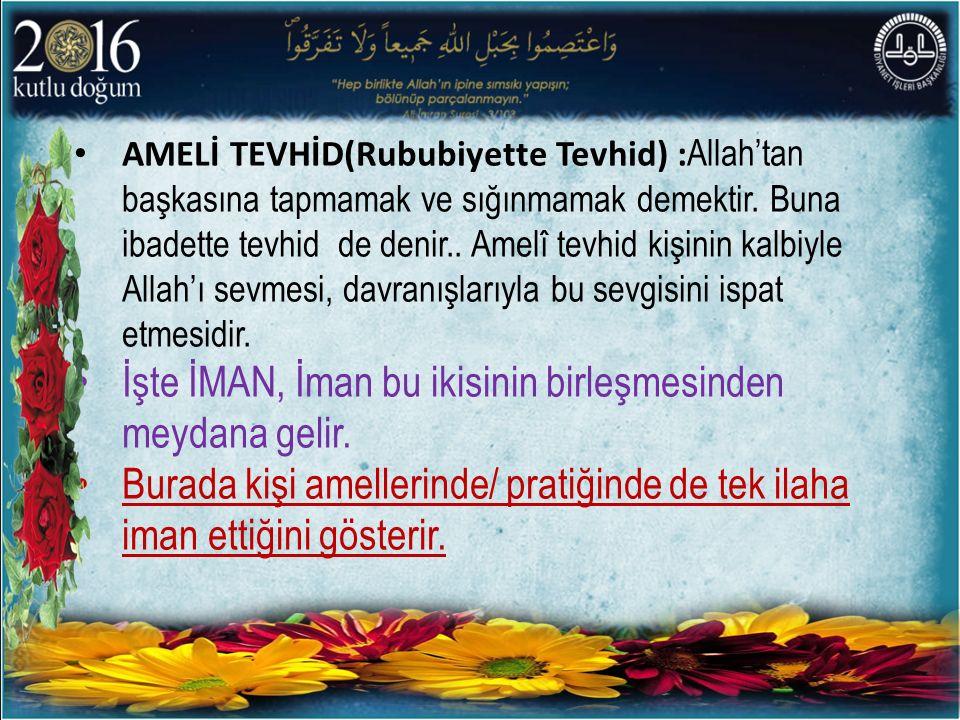 AMELİ TEVHİD(Rububiyette Tevhid) : Allah'tan başkasına tapmamak ve sığınmamak demektir.