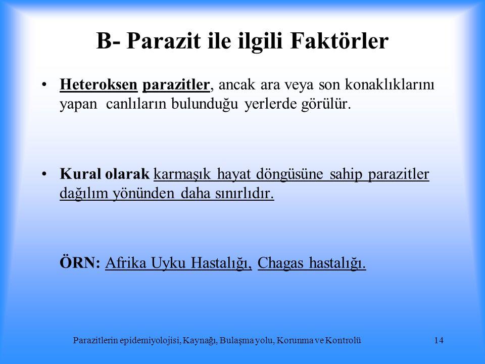 B- Parazit ile ilgili Faktörler Heteroksen parazitler, ancak ara veya son konaklıklarını yapan canlıların bulunduğu yerlerde görülür. Kural olarak kar