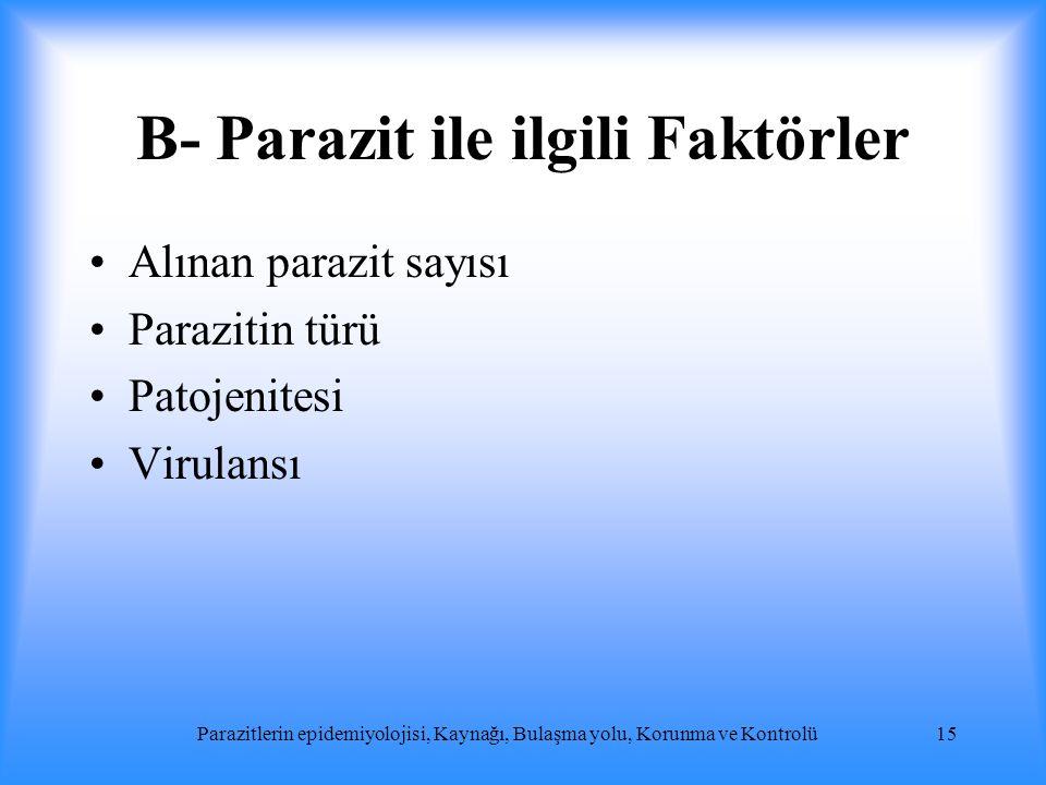 B- Parazit ile ilgili Faktörler Alınan parazit sayısı Parazitin türü Patojenitesi Virulansı Parazitlerin epidemiyolojisi, Kaynağı, Bulaşma yolu, Korun