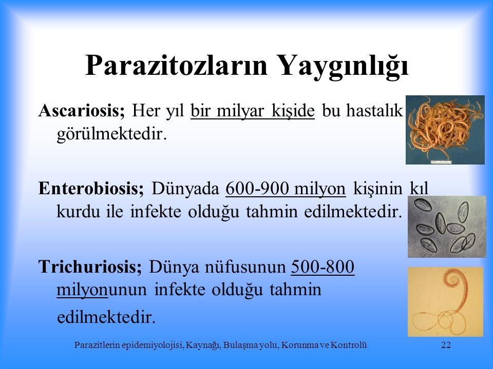 Parazitozların Yaygınlığı Ascariosis; Her yıl bir milyar kişide bu hastalık görülmektedir. Enterobiosis; Dünyada 600-900 milyon kişinin kıl kurdu ile