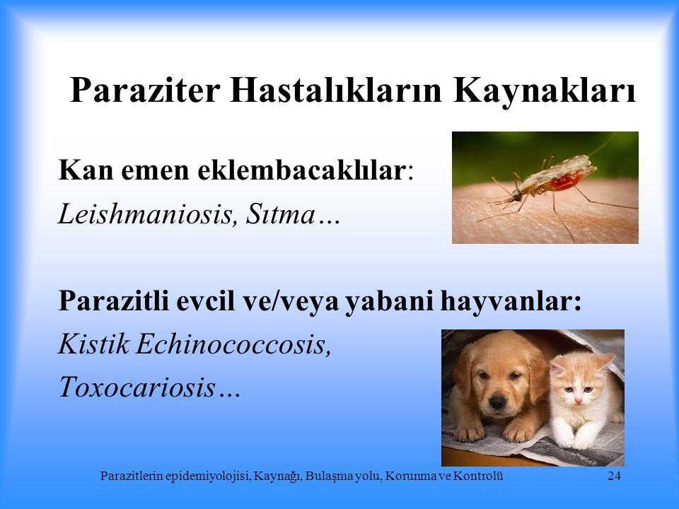Paraziter Hastalıkların Kaynakları Kan emen eklembacaklılar: Leishmaniosis, Sıtma… Parazitli evcil ve/veya yabani hayvanlar: Kistik Echinococcosis, To
