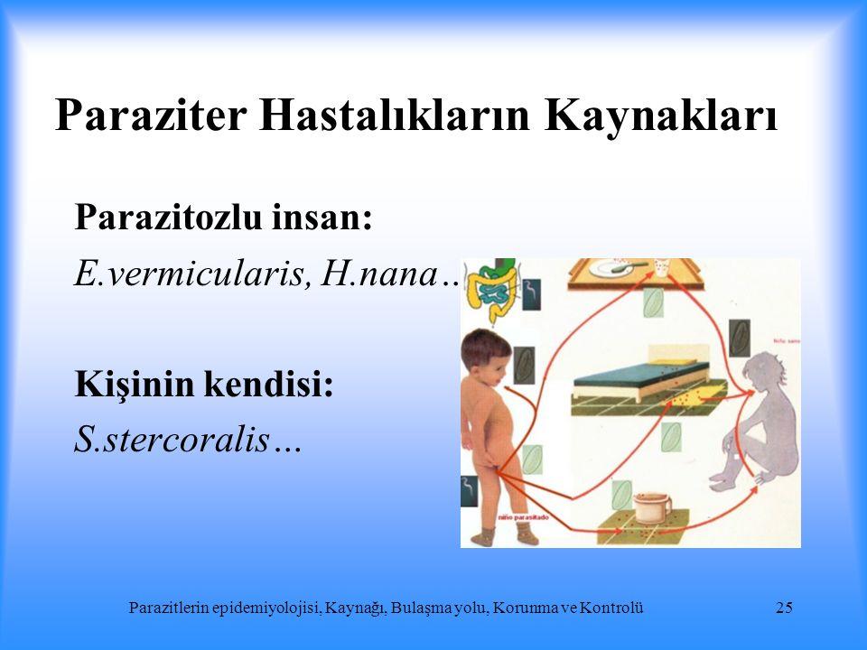 Paraziter Hastalıkların Kaynakları Parazitozlu insan: E.vermicularis, H.nana… Kişinin kendisi: S.stercoralis… Parazitlerin epidemiyolojisi, Kaynağı, B