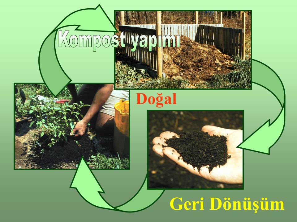 Kompost Kullanımı Toprak iyileştirme –Kompostun olgunlaşmış olmasından emin olunmalı, toprak gibi kokmalı (amonyak ve çürük koku olmamalı), içinde komposta giren materyaller ayıt edilmemeli –Kompost toprağa karıştırıldığında onun sağlığını iyileştirir, yüzeye 5cm'den fazla serilmemelidir.