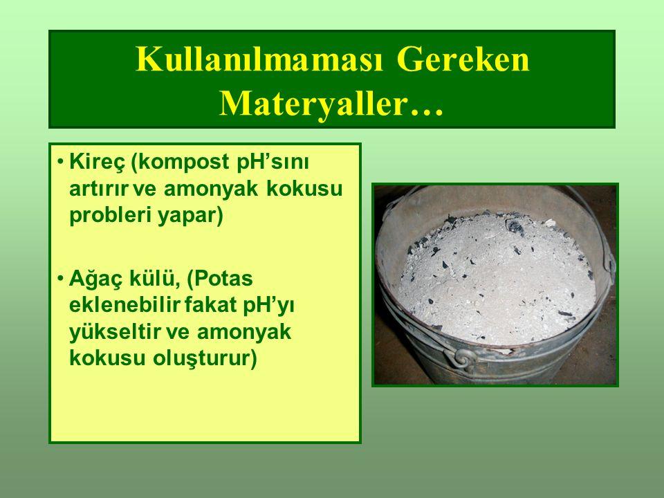 Kullanılmaması Gereken Materyaller… Kireç (kompost pH'sını artırır ve amonyak kokusu probleri yapar) Ağaç külü, (Potas eklenebilir fakat pH'yı yükseltir ve amonyak kokusu oluşturur)