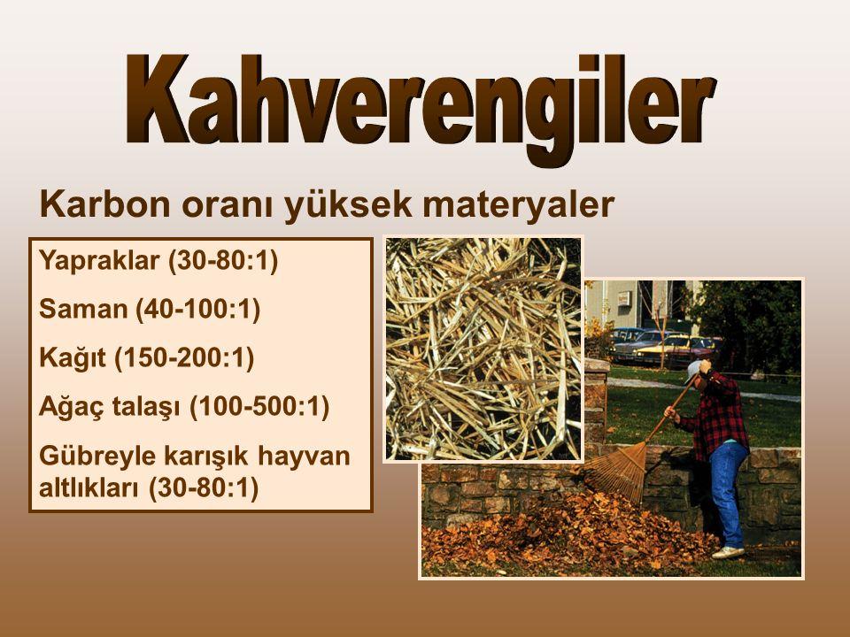 Yapraklar (30-80:1) Saman (40-100:1) Kağıt (150-200:1) Ağaç talaşı (100-500:1) Gübreyle karışık hayvan altlıkları (30-80:1) Karbon oranı yüksek materyaler