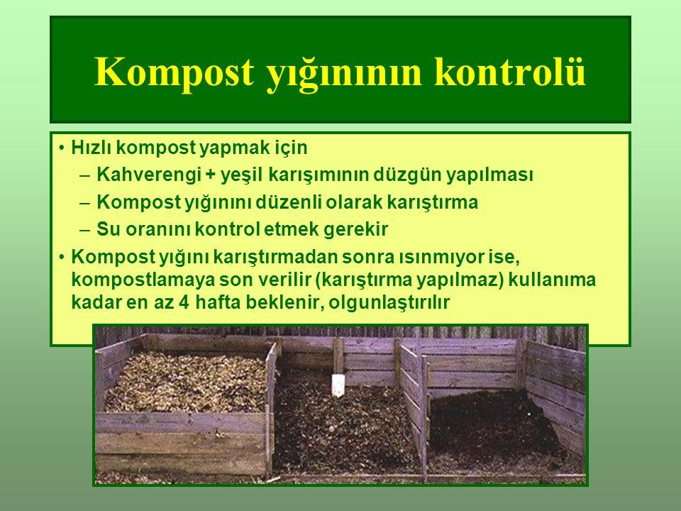 Kompost yığınının kontrolü Hızlı kompost yapmak için –Kahverengi + yeşil karışımının düzgün yapılması –Kompost yığınını düzenli olarak karıştırma –Su oranını kontrol etmek gerekir Kompost yığını karıştırmadan sonra ısınmıyor ise, kompostlamaya son verilir (karıştırma yapılmaz) kullanıma kadar en az 4 hafta beklenir, olgunlaştırılır