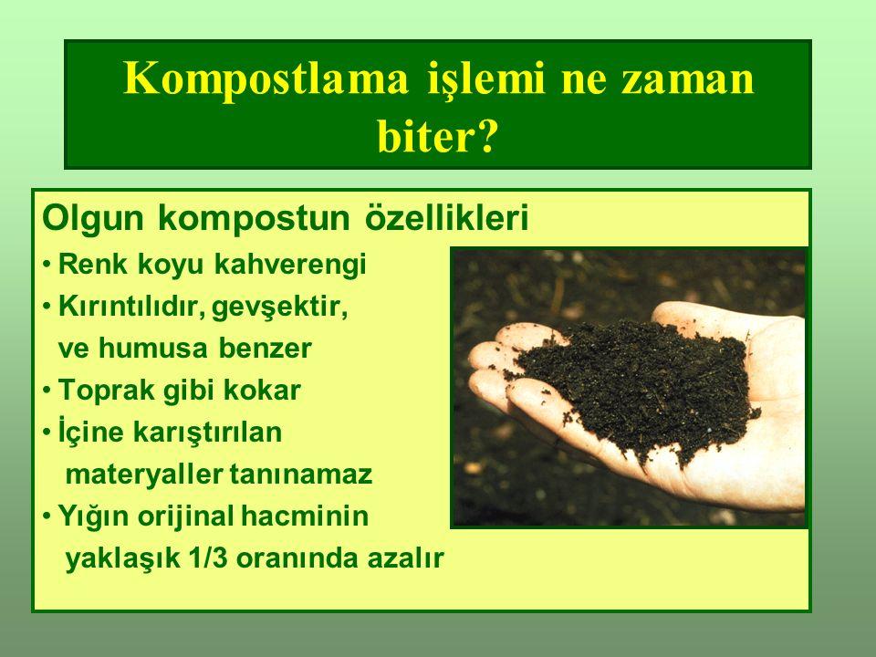 Kompostlama işlemi ne zaman biter.