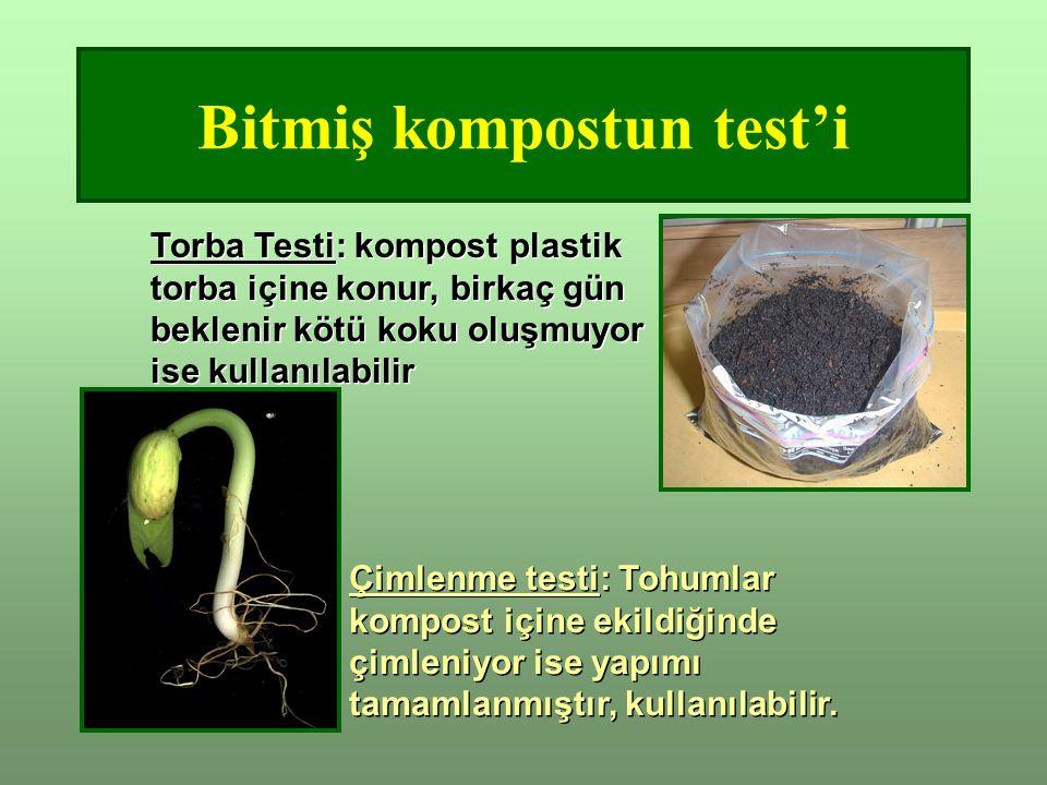 Bitmiş kompostun test'i Torba Testi: kompost plastik torba içine konur, birkaç gün beklenir kötü koku oluşmuyor ise kullanılabilir Çimlenme testi: Tohumlar kompost içine ekildiğinde çimleniyor ise yapımı tamamlanmıştır, kullanılabilir.