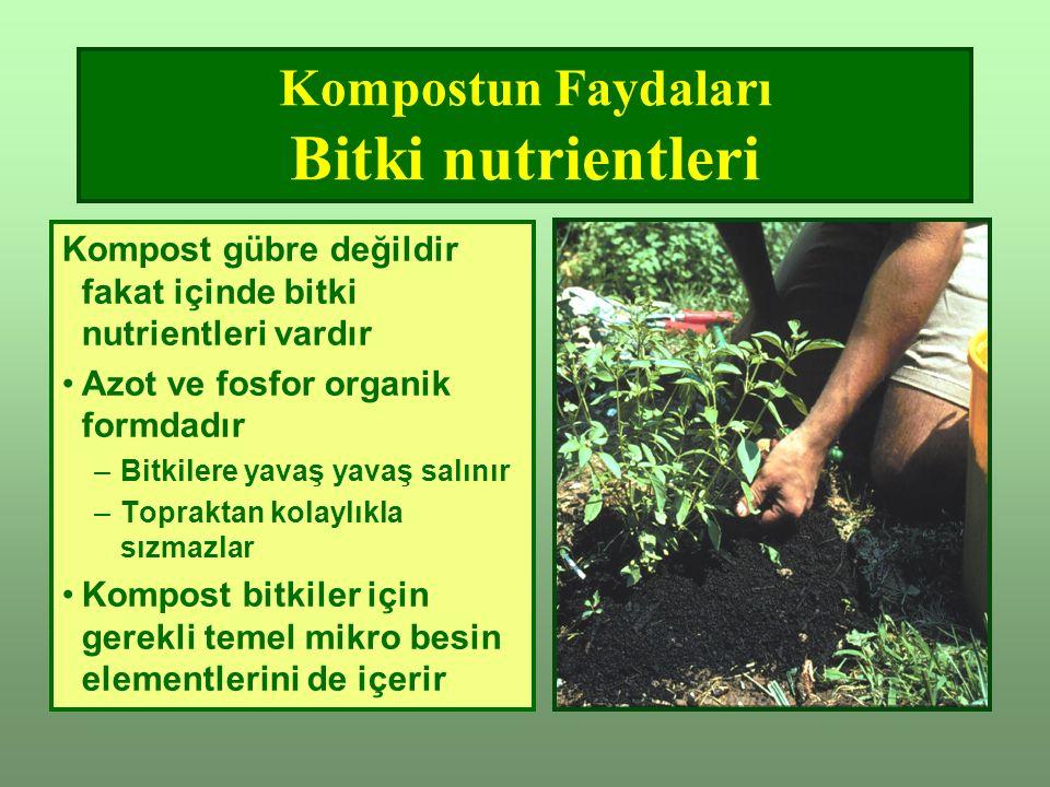Kompostun Faydaları Bitki nutrientleri Kompost gübre değildir fakat içinde bitki nutrientleri vardır Azot ve fosfor organik formdadır –Bitkilere yavaş yavaş salınır –Topraktan kolaylıkla sızmazlar Kompost bitkiler için gerekli temel mikro besin elementlerini de içerir