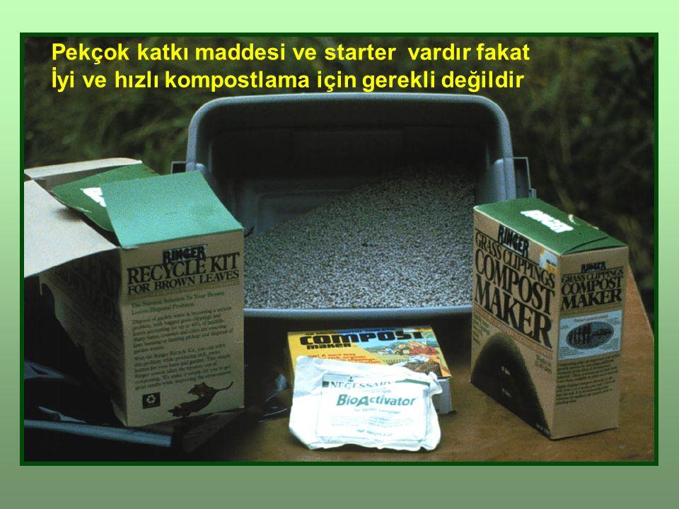 Pekçok katkı maddesi ve starter vardır fakat İyi ve hızlı kompostlama için gerekli değildir