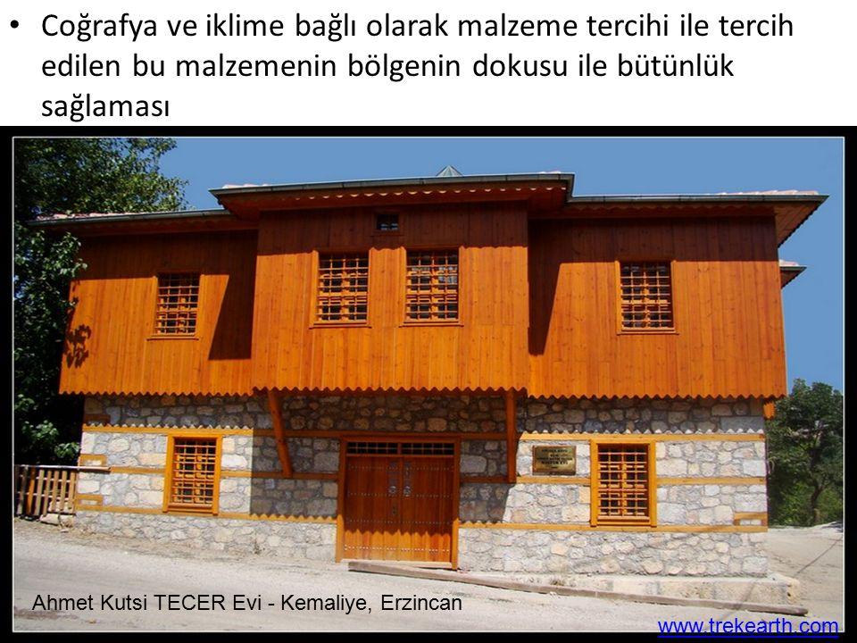 Coğrafya ve iklime bağlı olarak malzeme tercihi ile tercih edilen bu malzemenin bölgenin dokusu ile bütünlük sağlaması Ahmet Kutsi TECER Evi - Kemaliy
