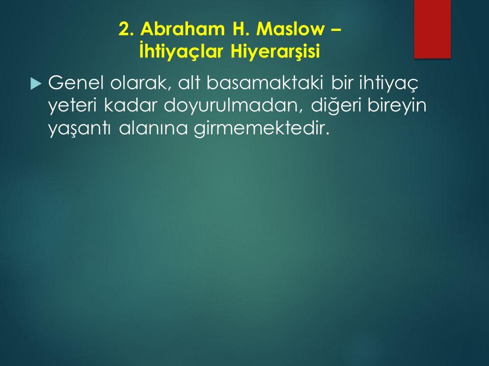 2. Abraham H. Maslow – İhtiyaçlar Hiyerarşisi  Genel olarak, alt basamaktaki bir ihtiyaç yeteri kadar doyurulmadan, diğeri bireyin yaşantı alanına gi