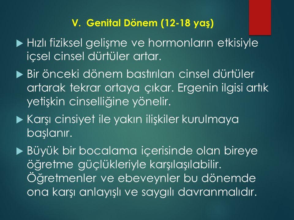 V.Genital Dönem (12-18 yaş)  Hızlı fiziksel gelişme ve hormonların etkisiyle içsel cinsel dürtüler artar.  Bir önceki dönem bastırılan cinsel dürtül