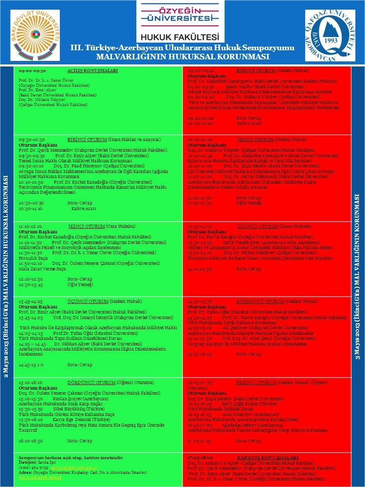 III. Türkiye-Azerbaycan Uluslararası Hukuk Sempozyumu MALVARLIĞININ HUKUKSAL KORUNMASI 2 Mayıs 2013 (Birinci Gün) MALVARLIĞININ HUKUKSAL KORUNMASI 09: