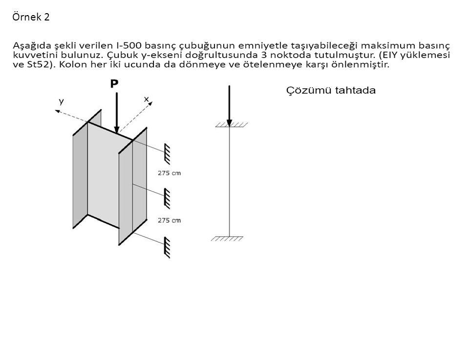 Normal I 500 Profil Tablosundan İx=19.6 cm İy=3.72 cmb F=180 cm 2 KUVVETLİ EKSEN (X) ZAYIF EKSEN (Y) Bir ucu mafsal bir ucu ankastre İki ucu ankastre w=2.43 Çözüm 2.