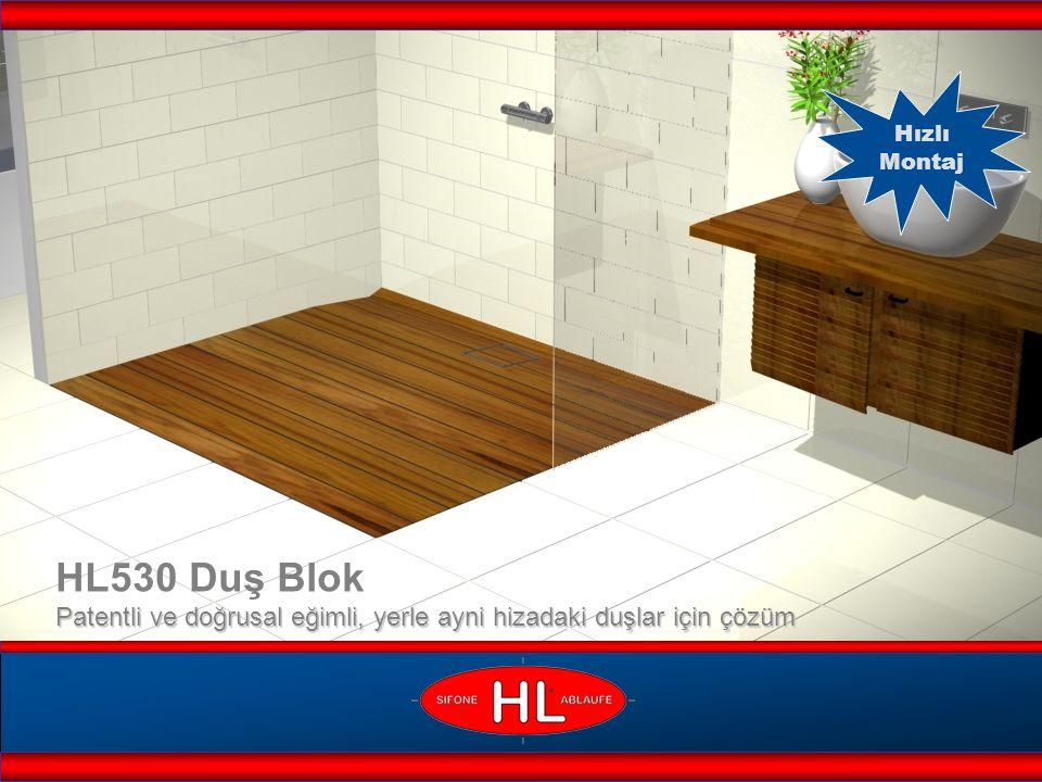 www.hutterer-lechner.com Ses yalıtım izolasyonu döşeyin Şapı en az 1,5% eğimli Duş Blokun kenarina kadar yayın HL530 Duş Blok Montaj