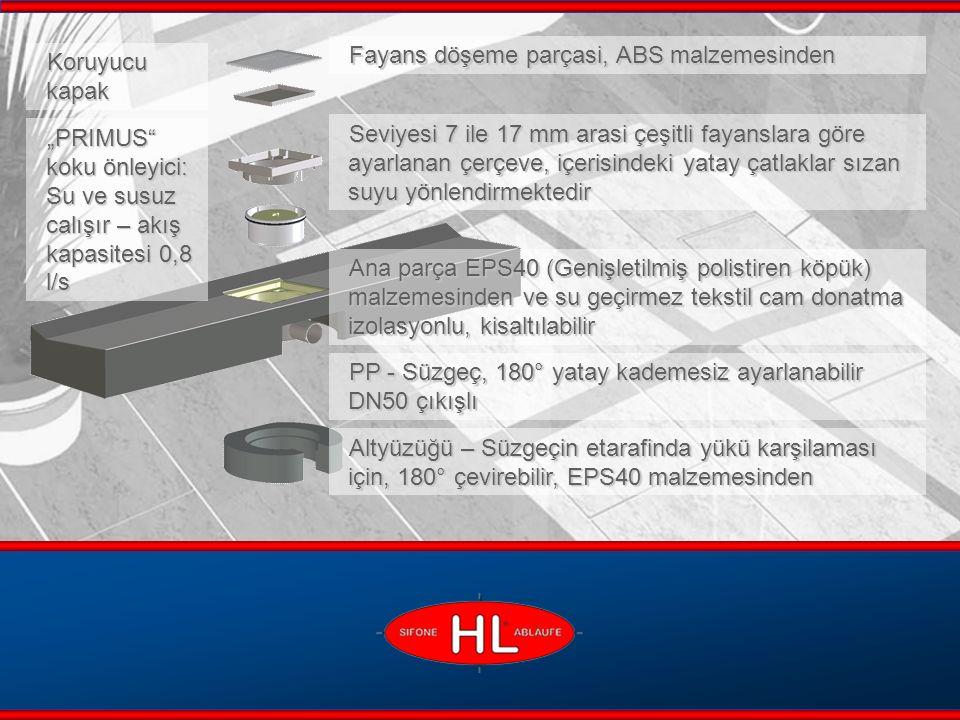 www.hutterer-lechner.com HL530 Duş Blok – Aksanlar HL530.0: Ana parça, çerçeve takımsiz Camli Çerçeve takımı HL0530.WG: Beyaz HL0530.SG: Siyah HL0530.BG: Kahverengi HL0530.GG: Gri