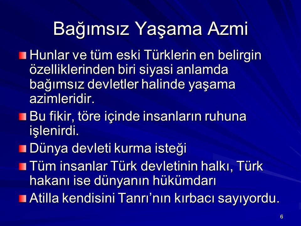Bağımsız Yaşama Azmi Hunlar ve tüm eski Türklerin en belirgin özelliklerinden biri siyasi anlamda bağımsız devletler halinde yaşama azimleridir. Bu fi