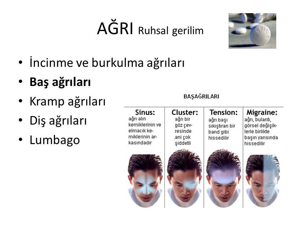 AĞRI Ruhsal gerilim İncinme ve burkulma ağrıları Baş ağrıları Kramp ağrıları Diş ağrıları Lumbago