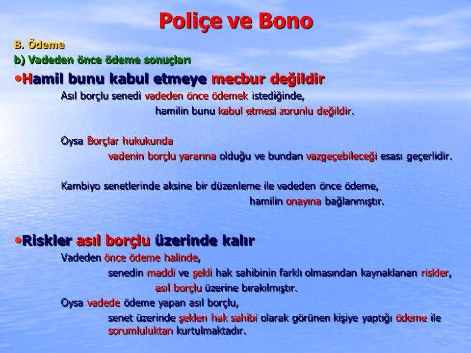 Poliçe ve Bono B. Ödeme b) Vadeden önce ödeme sonuçları Hamil bunu kabul etmeye mecbur değildir Hamil bunu kabul etmeye mecbur değildir Asıl borçlu se