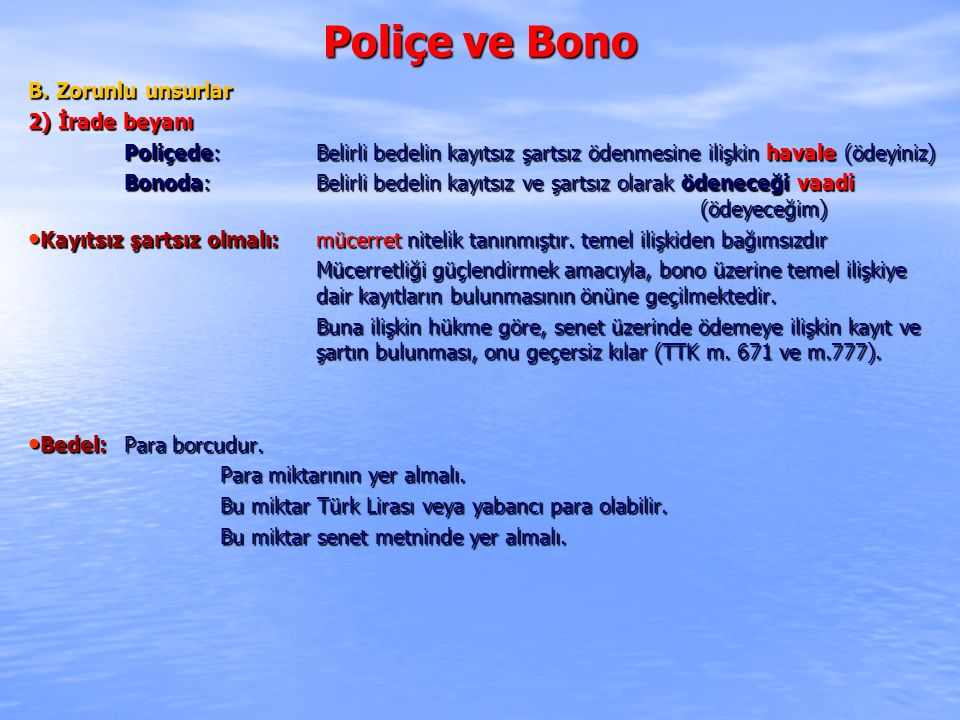 Poliçe ve Bono IV.POLİÇEDE KABUL E.