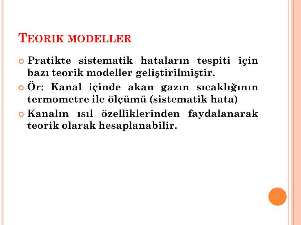 T EORIK MODELLER Pratikte sistematik hataların tespiti için bazı teorik modeller geliştirilmiştir. Ör: Kanal içinde akan gazın sıcaklığının termometre