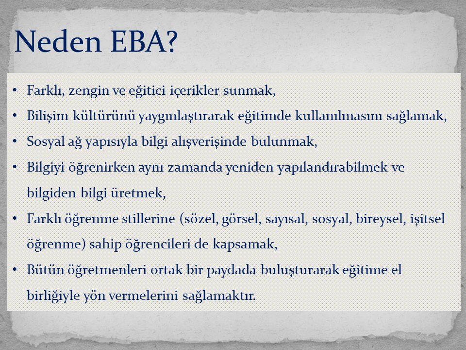 Neden EBA? Farklı, zengin ve eğitici içerikler sunmak, Bilişim kültürünü yaygınlaştırarak eğitimde kullanılmasını sağlamak, Sosyal ağ yapısıyla bilgi