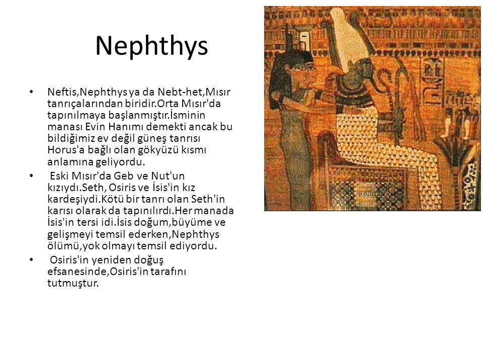 Nephthys Neftis,Nephthys ya da Nebt-het,Mısır tanrıçalarından biridir.Orta Mısır'da tapınılmaya başlanmıştır.İsminin manası Evin Hanımı demekti ancak
