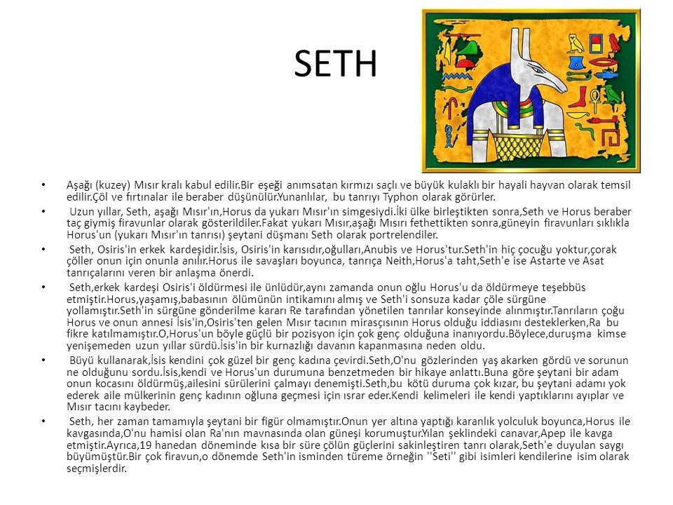 SETH Aşağı (kuzey) Mısır kralı kabul edilir.Bir eşeği anımsatan kırmızı saçlı ve büyük kulaklı bir hayali hayvan olarak temsil edilir.Çöl ve fırtınala