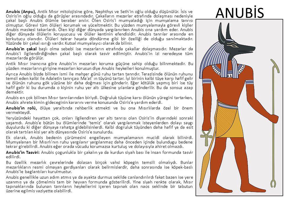 ANUBİS Anubis (Anpu), Antik Mısır mitolojisine göre, Nephthys ve Seth'in oğlu olduğu düşünülür. İsis ve Osiris'in oğlu olduğu da görüşler arasındadır.