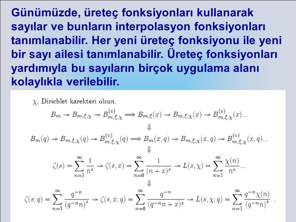 Günümüzde, üreteç fonksiyonları kullanarak sayılar ve bunların interpolasyon fonksiyonları tanımlanabilir.