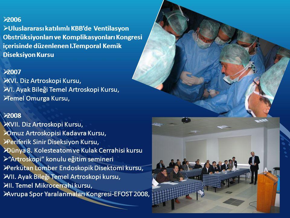  2006  Uluslararası katılımlı KBB'de Ventilasyon Obstrüksiyonları ve Komplikasyonları Kongresi içerisinde düzenlenen I.Temporal Kemik Diseksiyon Kursu  2007  XVI.