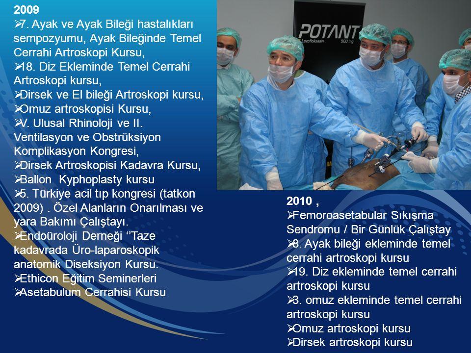 2009  7. Ayak ve Ayak Bileği hastalıkları sempozyumu, Ayak Bileğinde Temel Cerrahi Artroskopi Kursu,  18. Diz Ekleminde Temel Cerrahi Artroskopi kur